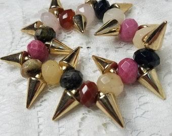 Spikes and Stones Beaded Bracelet