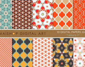 Digital Paper 'Leisure II' Red, Brown, Orange, Pink, Blue... Floral Geometric Papers for Card Making, Graphic Design...