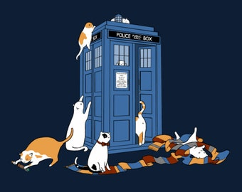 Time Travelers • Doctor Who and Cute Cats • Geeky Sci-Fi Tee