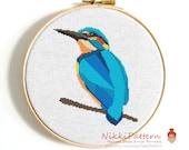 Bird cross stitch pattern Kingfisher cross stitch Animal cross stitch Counted cross stitch Modern cross stitch Cute animal Embroidery chart