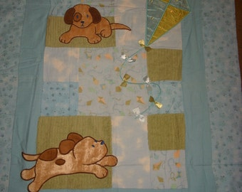 BaBY BLanKeT, AppLiqued puppy/dogs and kite, Blue, soft, flannels and chenille Quilt