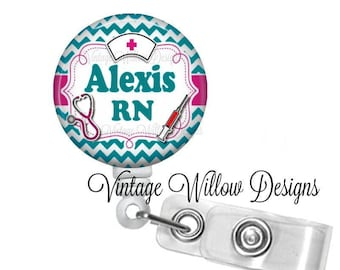 Personalized RN (Registered Nurse) Turquoise Chevron Retractable ID Badge Reel
