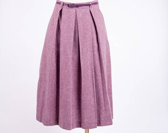 "Women's 70s Skirt Modern Size 7 (27 "") Tagged Vintage Size 12 STOCKTON OF DALLAS Purple Pleated Skirt Mid-Length Skirt Purple Business Skirt"