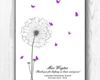 Teacher Appreciation Gift, Finger Print Classroom Gift, Teacher Thank you Graduation Gift Personalized Teacher Gift - DIGITAL PRINTABLE JPEG