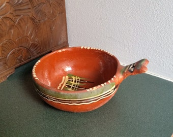 Mexican Redware Pottery from 1940s - Charmiing Rustic Vintage Tlaquepague Mexican Folk Art - Bowl with Handle