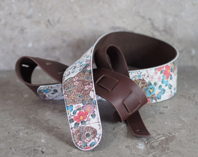 Asian Floral Print on White over Chocolate Brown Leather Guitar Strap