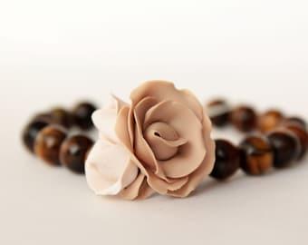 Beige rose bracelet, tiger eye bracelet, flower bracelet, polymer clay, natural stone, bridal bracelet, champagne bracelet, rose bracelet