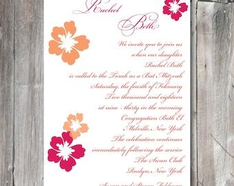 Bat Mitzvah Invitation - hibiscus flowers (BM1220)  for personalized digital download or print
