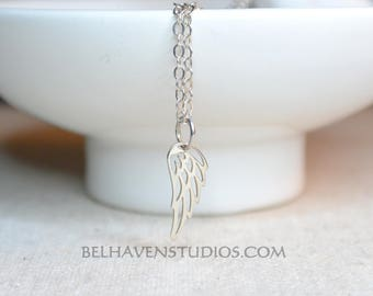 Petite Angel wing sterling silver pendant necklace Angel Wing jewelry Filigree angel wing charm  Modern simple minimalist petite jewelry