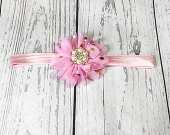 Pink and Gold Polka Dot Headband - Pink and Gold Headband - Baby Headbands - Baby Girl Headbands - Headbands for Babies - Toddler Headbands