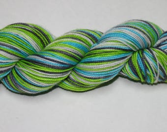 April Showers Self Striping Hand Dyed Sock Yarn