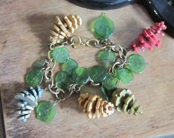 vintage wood lucite bracelet charm bracelet beads