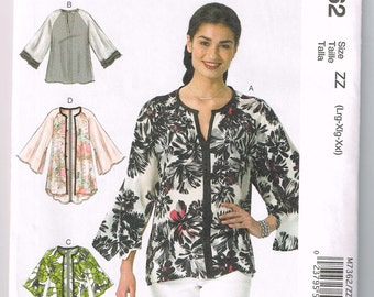 Plus size jacket and top sewing pattern McCalls Lrg - Xxl
