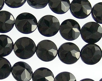 Black Onyx 10mm Faceted Coin Gemstone Beads 71211