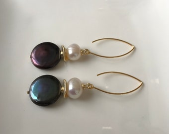Pearl earrings, black coin pearl earrings, long earrings, marquis earrings