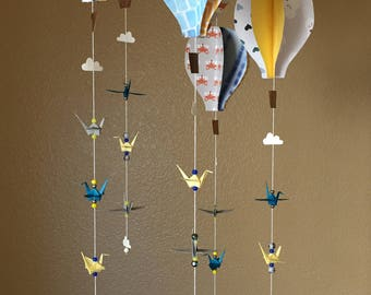 Origami Crane and Hot Air Balloon Mobile