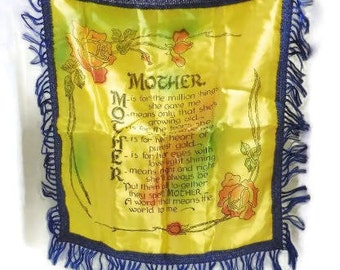 "Souvenir ""Mother"" Pillow Cover    Vintage Fringed Pillow Cover    Retro Souvenir For Mom"