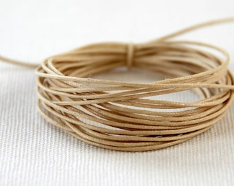 Waxed Cotton String, Cord, .5mm Natural, 3m length