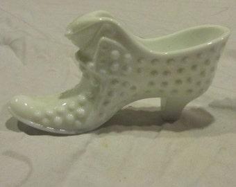 Vintage milk glass shoe - hobnail pattern