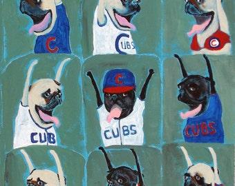 """Pug Art Print of an original oil painting, """"Chicago Cubs Wave"""", Dog Art,Baseball,World Series Art"""
