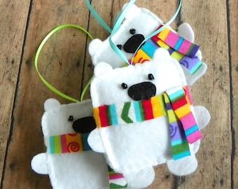 Polar Bear Ornament, White Felt