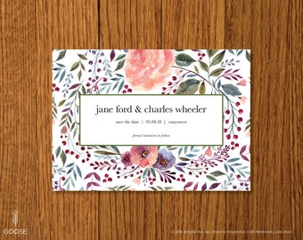 Spring Florals | Printable Save the Date Card Template | Instant Download