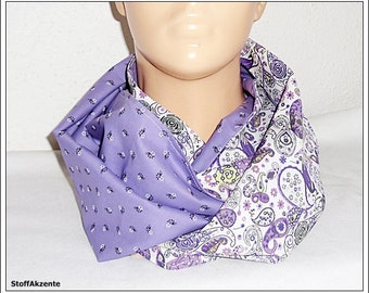 Snood/loop lilac white Paisley