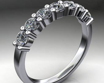 lucia ring - ready to ship - NEO moissanite anniversary band, 8 stone band