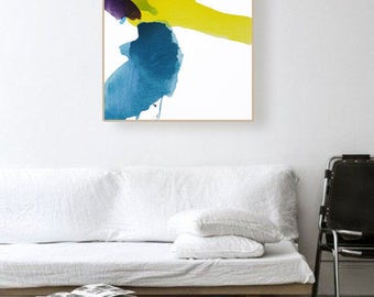 "Original Abstract Landscape Modern Canvas Art, blue/green, aqua, purple, yellow, 25 x 30""  ""Sun Spring"" landscape contemporary painting"