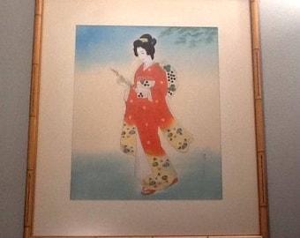 """Vintage Framed Asian Oriental GEISHA Print Woman Kimono Figural 23 5/8 x 20 3/8"""""""