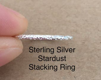 Stadust Sterling Silver Stacking Ring, Thumb Ring, Midi Ring
