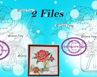 Digital Stamp, Digi Stamp, Digistamp, Conie Fong, peony, flower, Spring, Jar, Coloring Page, birthday, mother's day, get well