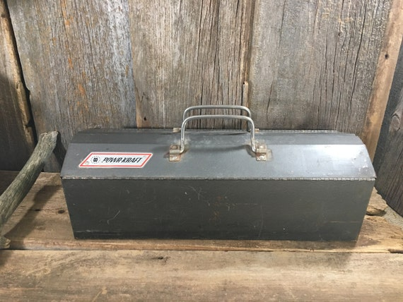 Vintage Powr-Kraft metal tool box, vintage tool box, grey metal tool box, vintage storage, rustic tool box, industrial decor, powr-kraft