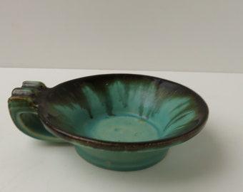 1930s Art Deco - Faiencerie de Thulin Belgium - Small dish with black green drip glaze - candle holder