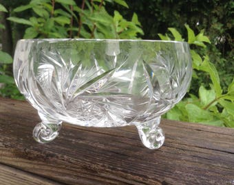 Cut glass 3 footed bowl