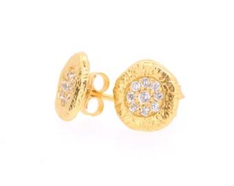 CZ Circle Stud Earrings (Courage)