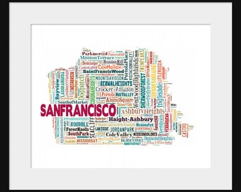 San Francisco Map Multi Color Typography Map Poster Print 2