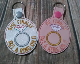 Engagement Ring - Key Fob Design - DIGITAL EMBROIDERY Design