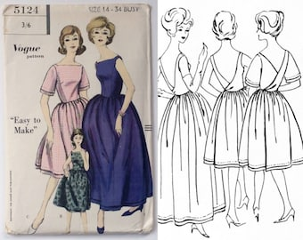 RARE FF B34 1960s Dress with Low Wrap back Sewing Pattern : Vogue 5124