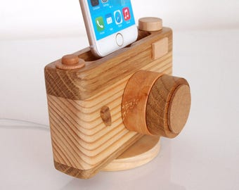 iPhone dock - iPhone X / 8 / 8 Plus / 7 / 7 Plus / 6 / 6Plus / 6S / 6S Plus / 5 / 5S / 5C / SE - photo gear - craft - handmade