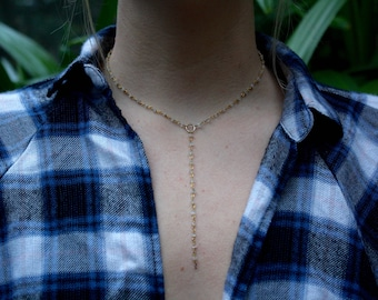 dainty drop down gold chain