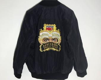 90s True Vintage Micheal Jackson Dangerous Tour Jacket Embroidered Logo Size L