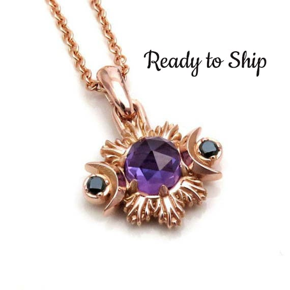 Lab Alexandrite Moon Phase Pendant with Black Diamonds - 14k Rose Gold - Ready to Ship