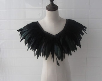 "C 28"" long  Burlesque Black rooster coque feather Collar Shrug Cape"
