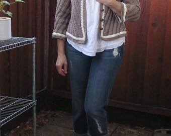 Crochet Cotton Jacket, Elegant Woman Cardigan, 3/4 Sleeves Jacket, Handmade Clothes