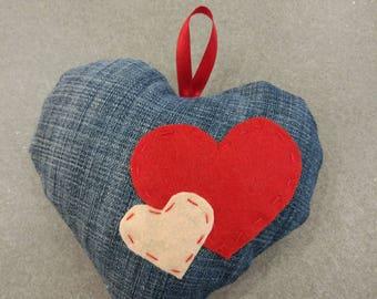 Denim heart with felt applique