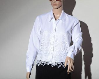 80s long sleeve white shirt