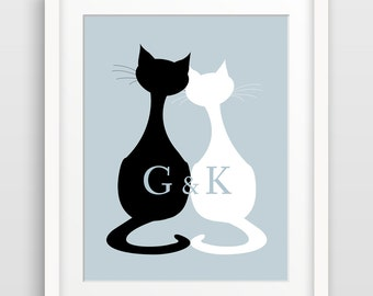 Personalized Wedding Gift, 1st Anniversary Gift, Custom Gift for Couple, Engagement Gift, Paper Anniversary, Gift for Cat Lovers