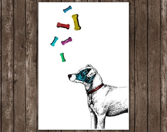 Cute Dog wit Rainbow Bones, Baby Boy, baby Girl, Art Print, Home Decor