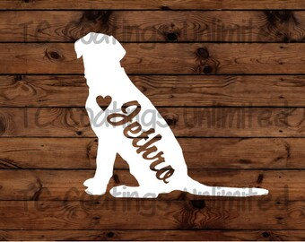 Lab Silhouette with Heart and Name -  Vinyl Graphic Decal   Many color options